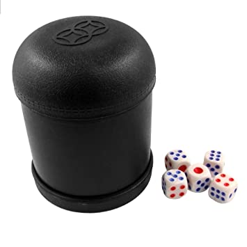 Black PVC Dice Cup with 5 Dices Board Game KTV Pub Casino Party Game Dice Box