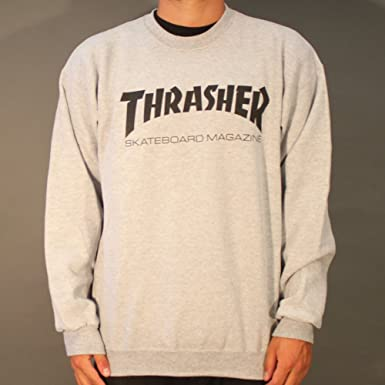 fbf00e8c3554 Thrasher Skate Mag Crewneck - Heather Grey  Amazon.co.uk  Clothing