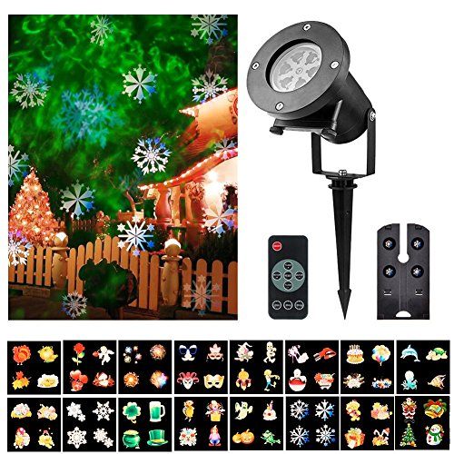 Snowfall Projector Christmas Led Lights 16 Patterns Remote Control Projection Lamp Film Light Insert Card Christmas Snowflakes LED Lights
