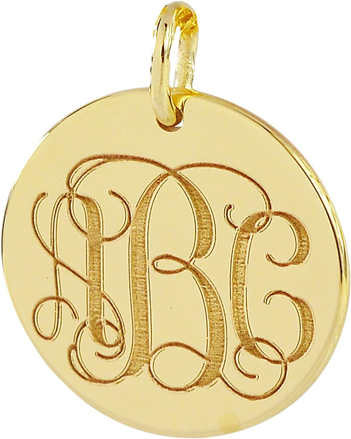 "Solid 10k Gold 3//4/"" Dainty Small 3 Initials Circle Monogram Necklace Personalize"