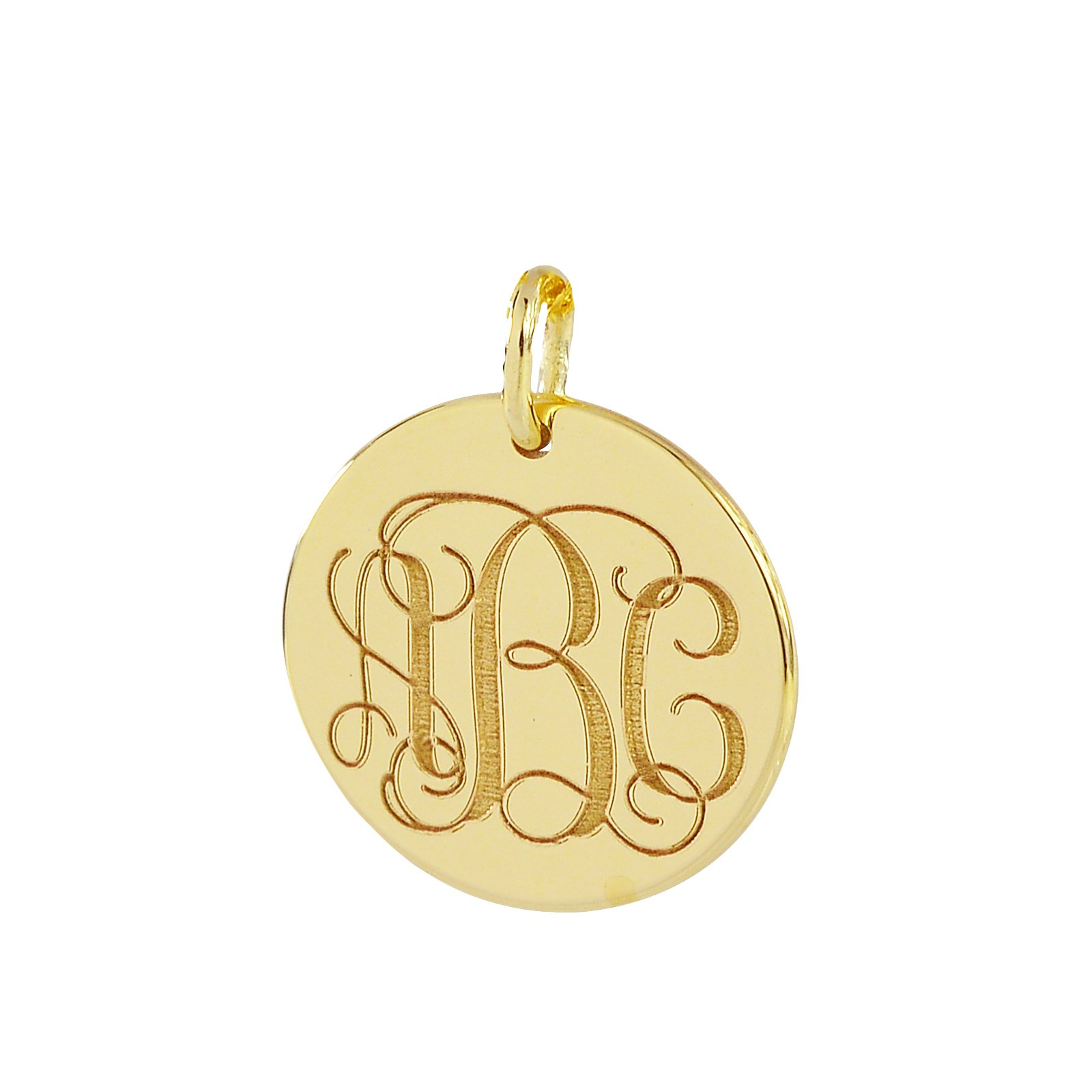 3 Initials Monogram Charm Pendant Solid 14K Gold 1/2 Inch Dainty Small Round Disc Deep Laser Engraving GC06 (0) by Soul Jewelry