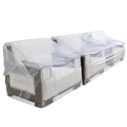 TopSoon Funda para sofá 3 Plazas Plástico Transparente 340 x 117 cm