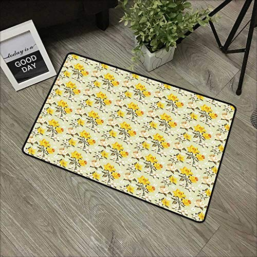 Floor mat W19 x L31 INCH Vintage,Narcissus Blossoms Little Wildflowers Green Leaves Classical Festive,Yellow Cream Pale Green Easy to Clean, no Deformation, no Fading Non-Slip Door Mat Carpet