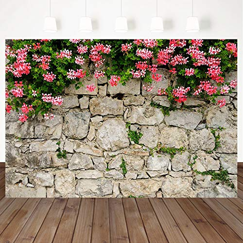 (Mehofoto Brick Wall Background Pink Flowers Backdrop 7×5ft Wedding Booth Banner Background Party Photography Backdrops Studio)
