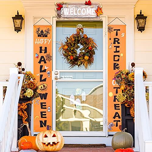 BigOtters Halloween Door Porch, 73 Inches Halloween Porch Signs Happy Halloween & Trick Or Treat for Front Door Outside Yard Halloween Party Supplies - Orange