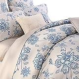 Softta Floral Duvet Cover Set Farmhouse Bedding 800 Thread Count 100% Cotton 3Pcs, Cal King Size, Flower 1