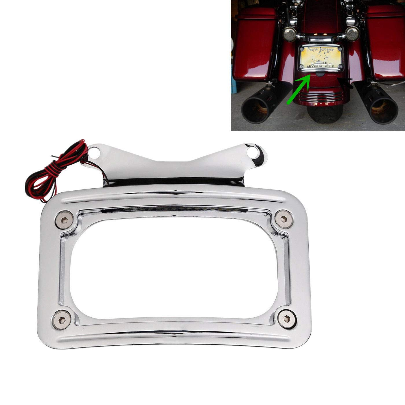 TCMT Curved License Plate Mount Frame W/Light Fits For Harley Street Glide 2010-2018 by TCMT