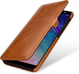 StilGut Book Type Case, Custodia per Samsung Galaxy A6 Plus 2018 a Libro Booklet in Vera Pelle, Cognac con Clip