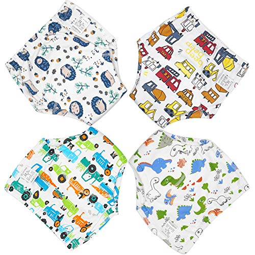 Zumou Toddler Training Pants Cotton Potty Training Underwear for Baby Boys Girls 4 Pack (Car, 3T)