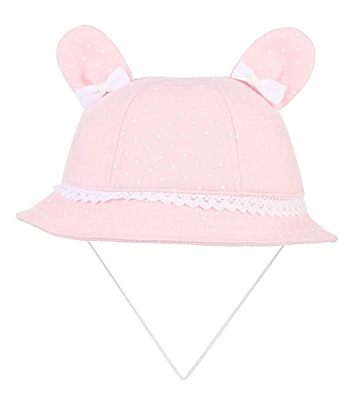 f876b3ddaa8 Jelord Baby Girls Ear Sunhats Bow-knot Bucket Hats with Chin Strap (Hat  circumference