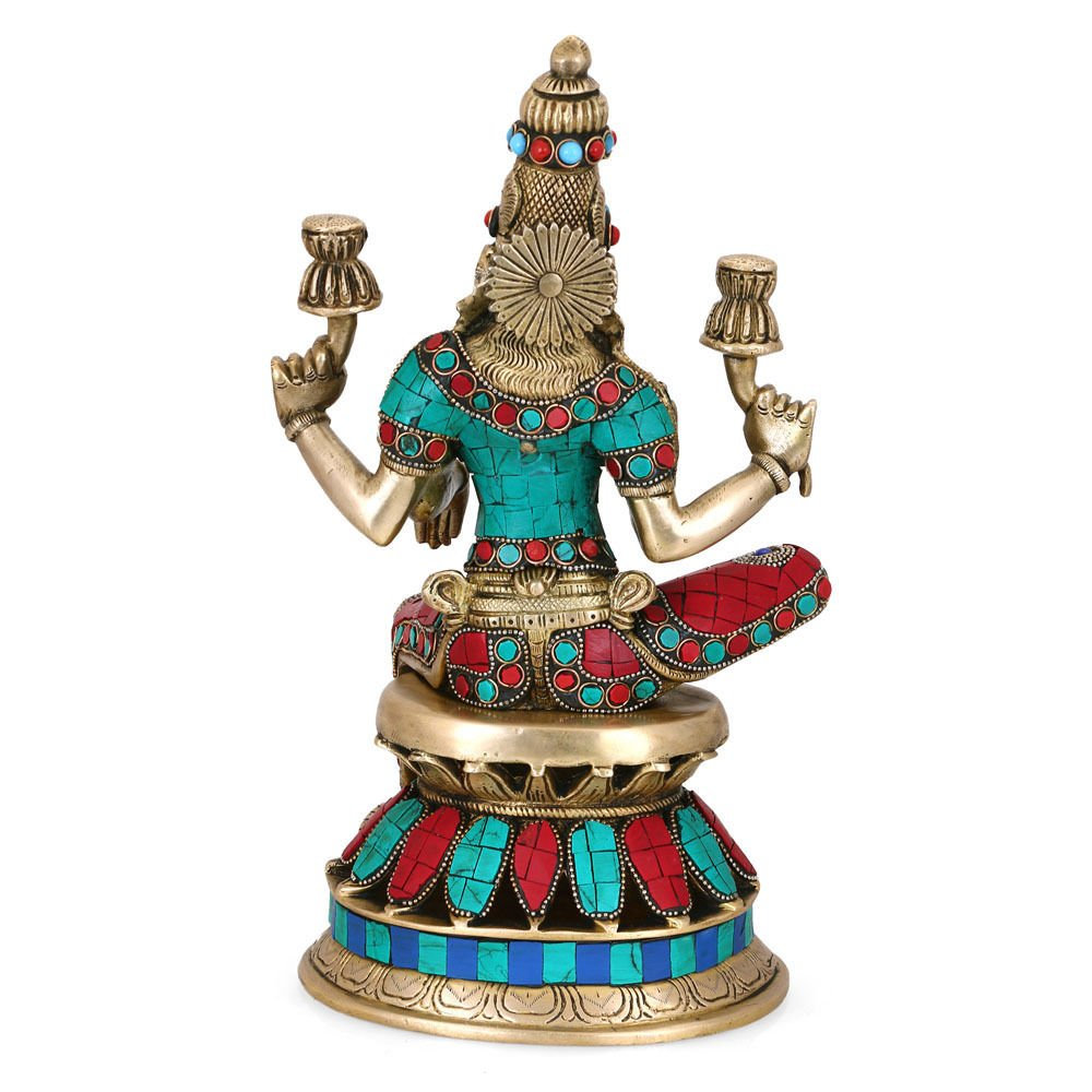 CraftVatika 1 Ft Large Lakshmi Statue Hindu Goddess Laxmi Sculpture Goddess of Wealth Prosperity Brass Turquoise Figurine by CraftVatika (Image #3)