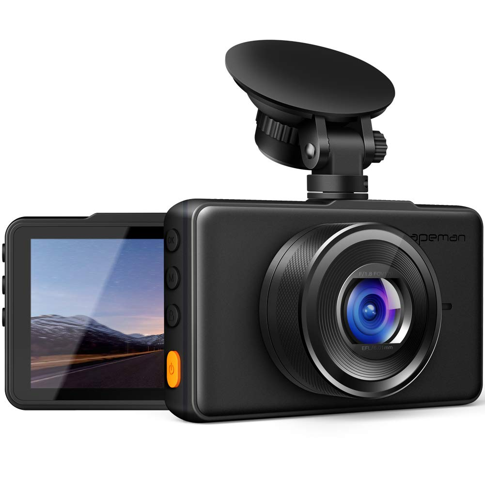 APEMAN Dash Cam 1080P FHD DVR Car Driving Recorder 3'' LCD Screen 170°Wide Angle, G-Sensor, WDR, Parking Monitor, Loop Recording, Motion Detection