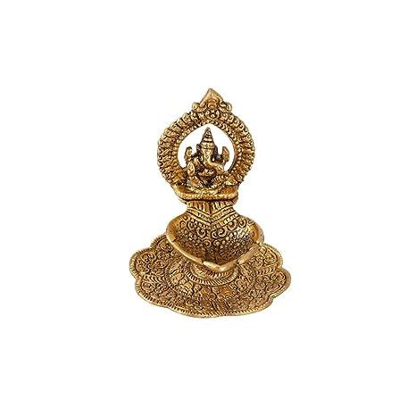 Amazon Com Handicrafts Paradise Ganesh Diya In Metal Antique Golden