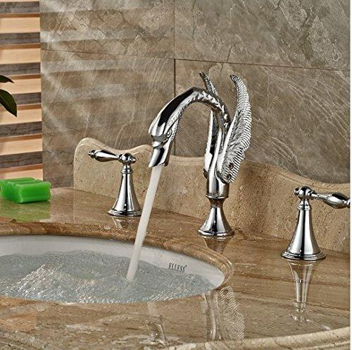 GOWE Polished Chrome Bathroom Swan Faucet Dual Handles Vanity Sink Mixer Tap 2 Handle 2