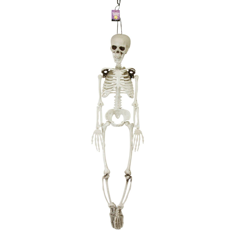 Halloween Haunters 3 Foot Hanging Full Body Skeleton Plastic Prop Decoration - Posable Joints, Scary Human Skull & Bones