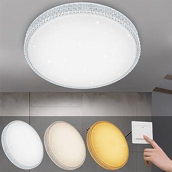 VINGO® 50W LED Deckenleuchte Starlight-Design Wandlampe Wohnraum  Schlafzimmer Lampe Farbwechsel rund Mordern Dekor IP44 Geeignet für  Wohnzimmer ...