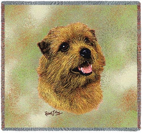 Pure Country 6366-LS Norfolk Terrier Pet Blanket, Canine on Beige Background, 54 by 54-Inch