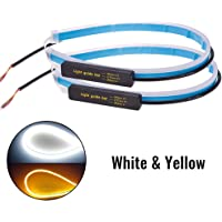 Ownsig 2 Unids 60 cm Lámpara de Señal de Giro Ultra Delgada Corriente Diurna Tira Doble Color Coche que Fluy Tubo Suave LED Tira DRL Blanco y amarillo