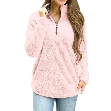 SuperSU Frauen Langarmshirts Winter Bluse Sweatshirt Reißverschluss Fleece  Pullover Top Damen Elegant Trägerlos Bluse Vintage Rückenfreies 69dc25b7e0