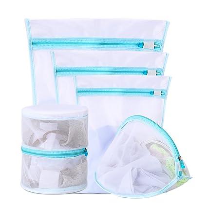 Bolsas de lavandería multiusos de malla, reutilizables, con cremallera, para colada