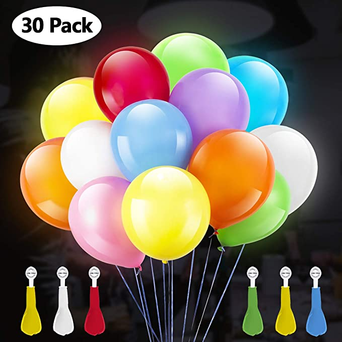 30 Globos con luces  LED de color mixto para cumpleaños.
