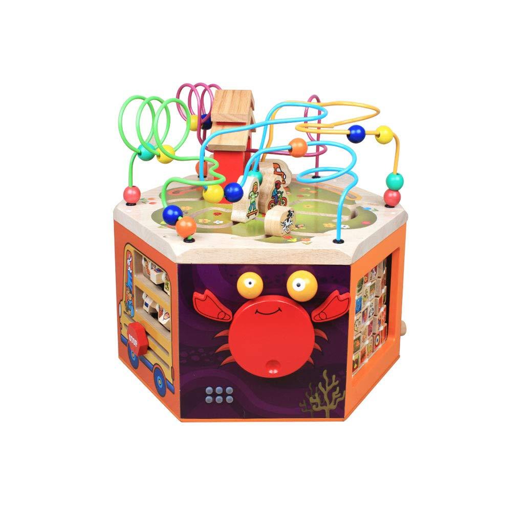 HXGL-おもちゃ 木製の宝箱子供のおもちゃ3年以上ピアノの折り返しの手紙の認識にノックビーズ (色 : A)  A B07MRGLTW2