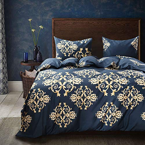 Cozyholy Luxury Royal style Duvet Cover Baroque Design Comforter Cover Vintage Bohemian Set Ultra Soft Zipper Colsure, 3 Pieces Bedding Set (Queen, Navy blue - luxury golden Baroque pattern)
