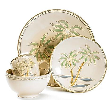 Palm Tree Dinnerware Set No Size  sc 1 st  Amazon.com & Amazon.com | Pfaltzgraff 16-pc. Palm Tree Dinnerware Set No Size ...