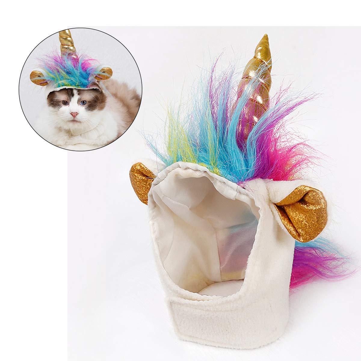 EisEyen Einhorn Hut für Kleine Hunde Katzen Hundehut Halloween Party Kostüm-Zubehör Mähne Vestellbar