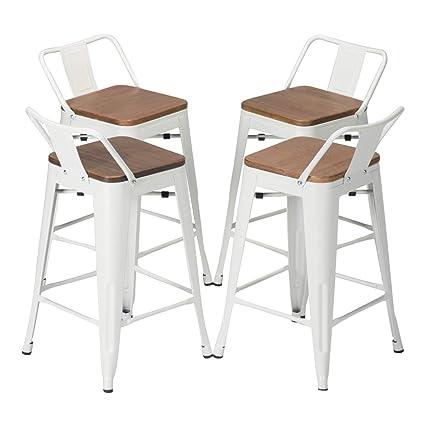 Amazon Com Yongqiang Set Of 4 Metal Barstools Home Kitchen Dining