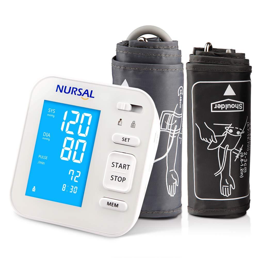 NURSAL Monitor digitar de presión arterial actualizado para el brazo superior con cable de alimentación USB Gran pantalla digital retroiluminada para 2 ...
