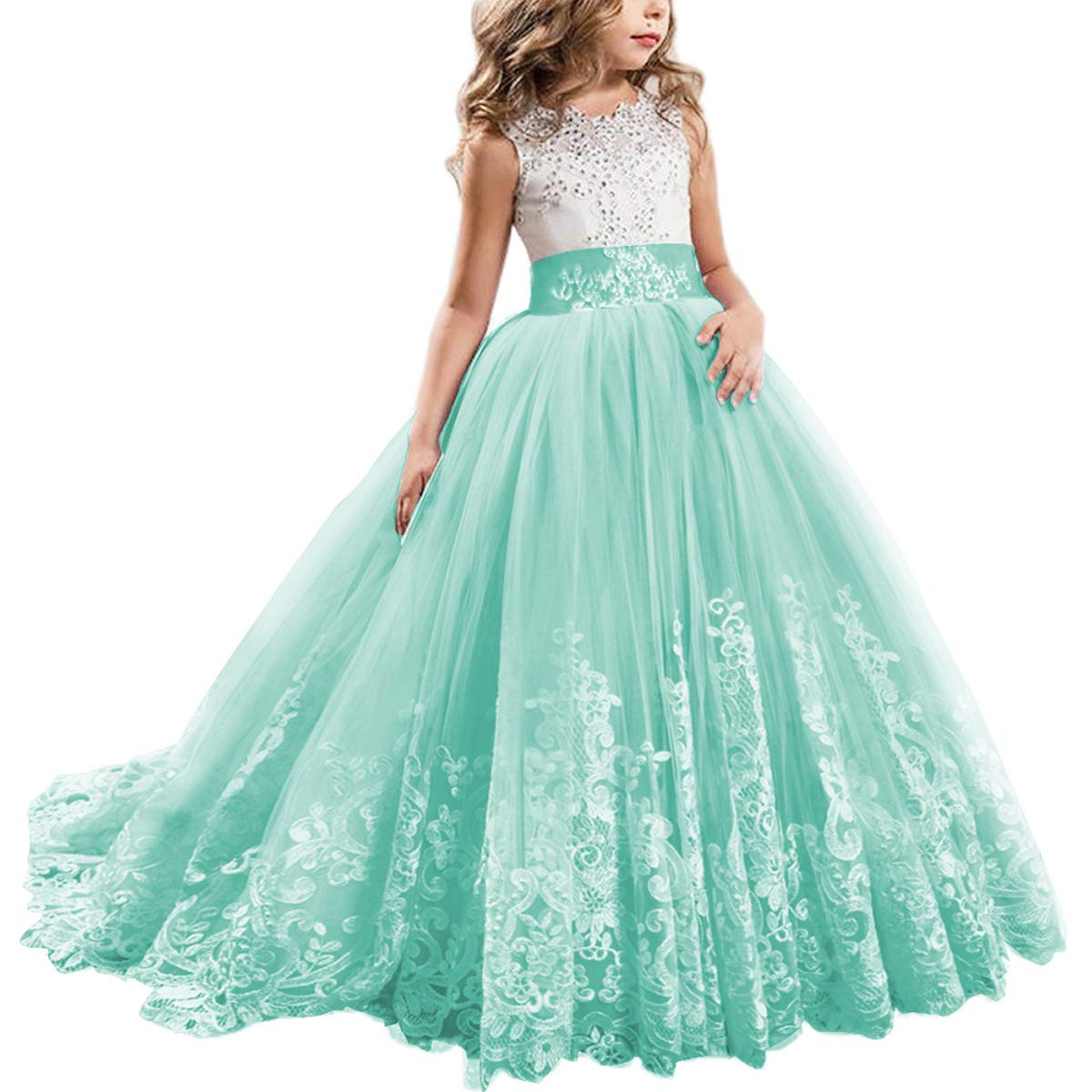 Flower Girl Dress Kids Lace Beaded Pageant Ball Maxi Gowns Long First Communion Prom Formal Birthday Dresses Turquoise 12-13 Years by IBTOM CASTLE