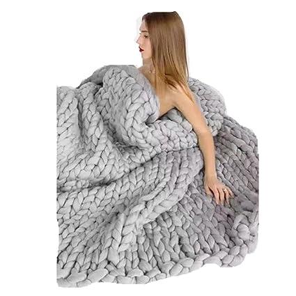 Manta para sofá de lana tejida con punto gigante (gris), de ...