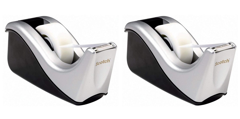 Scotch Desktop Tape Dispenser Silvertech, Two-Tone (C60-ST) 2pack