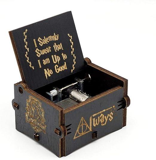 leegoal – Caja de música Harry Potter, clásica Mano de Madera Decorativo Caja de música Antigua Tallada a la casa Caja Decorativa como un Regalo para los Chicos y Las Chicas (3