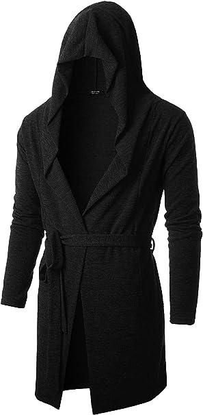 pipigo Mens Irregular Hooded Trench Coat Open Front Long Jacket Cardigans