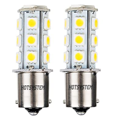 HOTSYSTEM 1156 1141 LED Light Bulbs DC12V P21W BA15S 18-5050SMD for Car RV SUV Camper Trailer Trunk Interior Reversing Backup Tail Turn Signal Corner Parking Side Marker Lights(Warm White,Pack of 2): Automotive