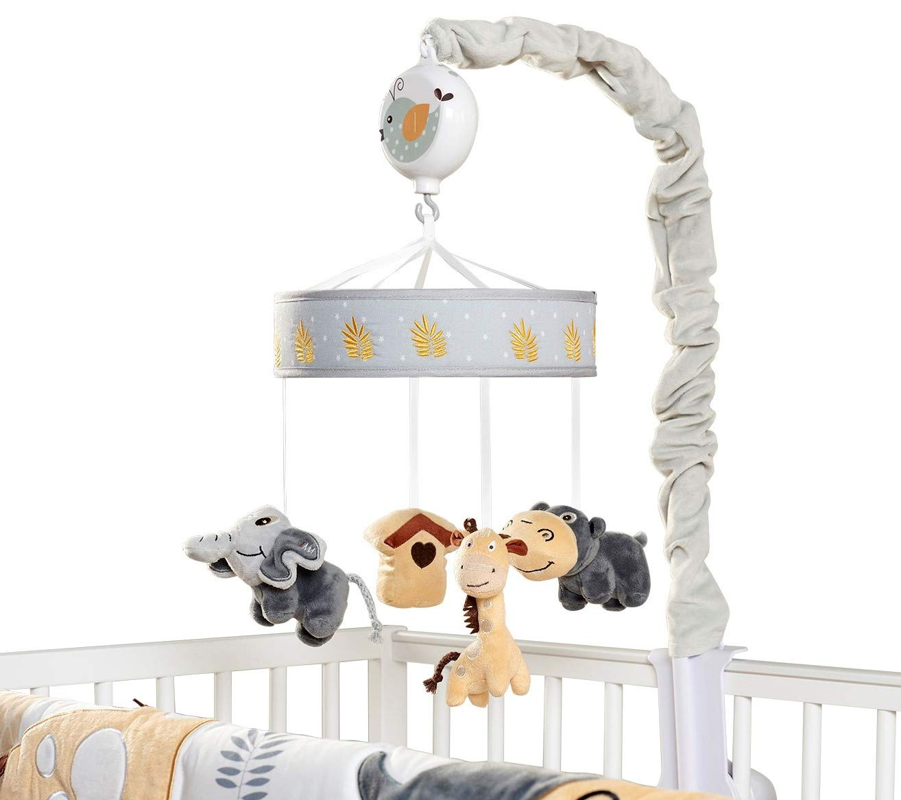 Oberlux Musical Baby Crib Mobile - Jungle Animal Safari Theme Baby Soother, Gray, Tan, Baby Toy Animals