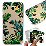 Galaxy A5 2016 Case,Galaxy A5 2016 Cover,Leeook Fashion Creative Transparent Green Leaves Pattern Design Soft Ultra Thin TPU Silicone Protector Back Rubber Clear Flexible Slim Bumper Shell Mobile Phone Case Cover for Samsung Galaxy A5 2016 + 1 x Free Black Stylus