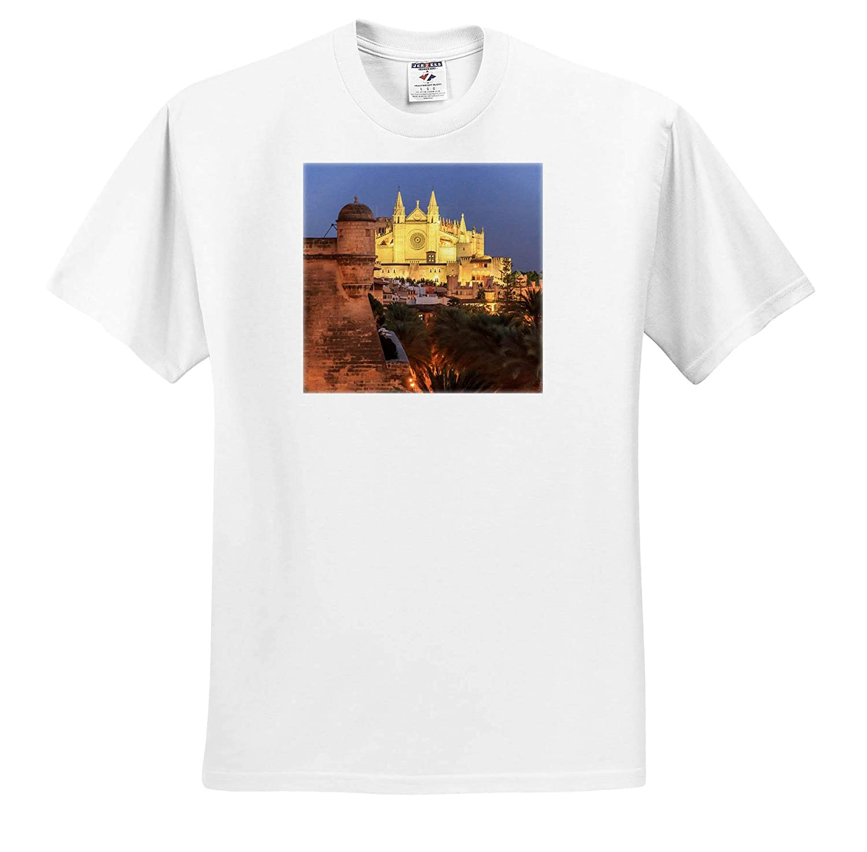 3dRose Danita Delimont - Adult T-Shirt XL Palma de Mallorca ts/_313868 Spain Gothic Cathedral Spain La Seu Mallorca