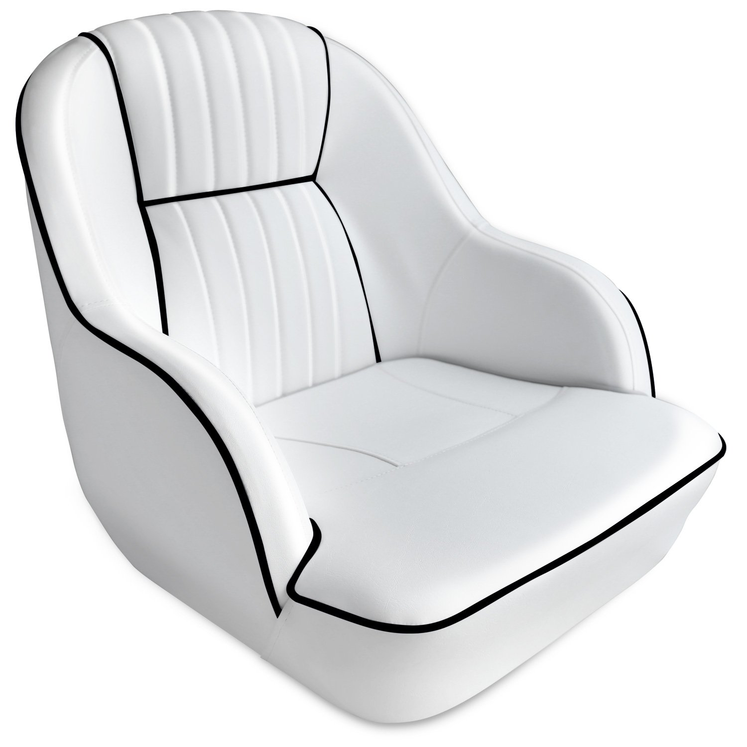Leader Accessories Pontoon Captains Bucket Seat Boat Seat (White/Black Piping)