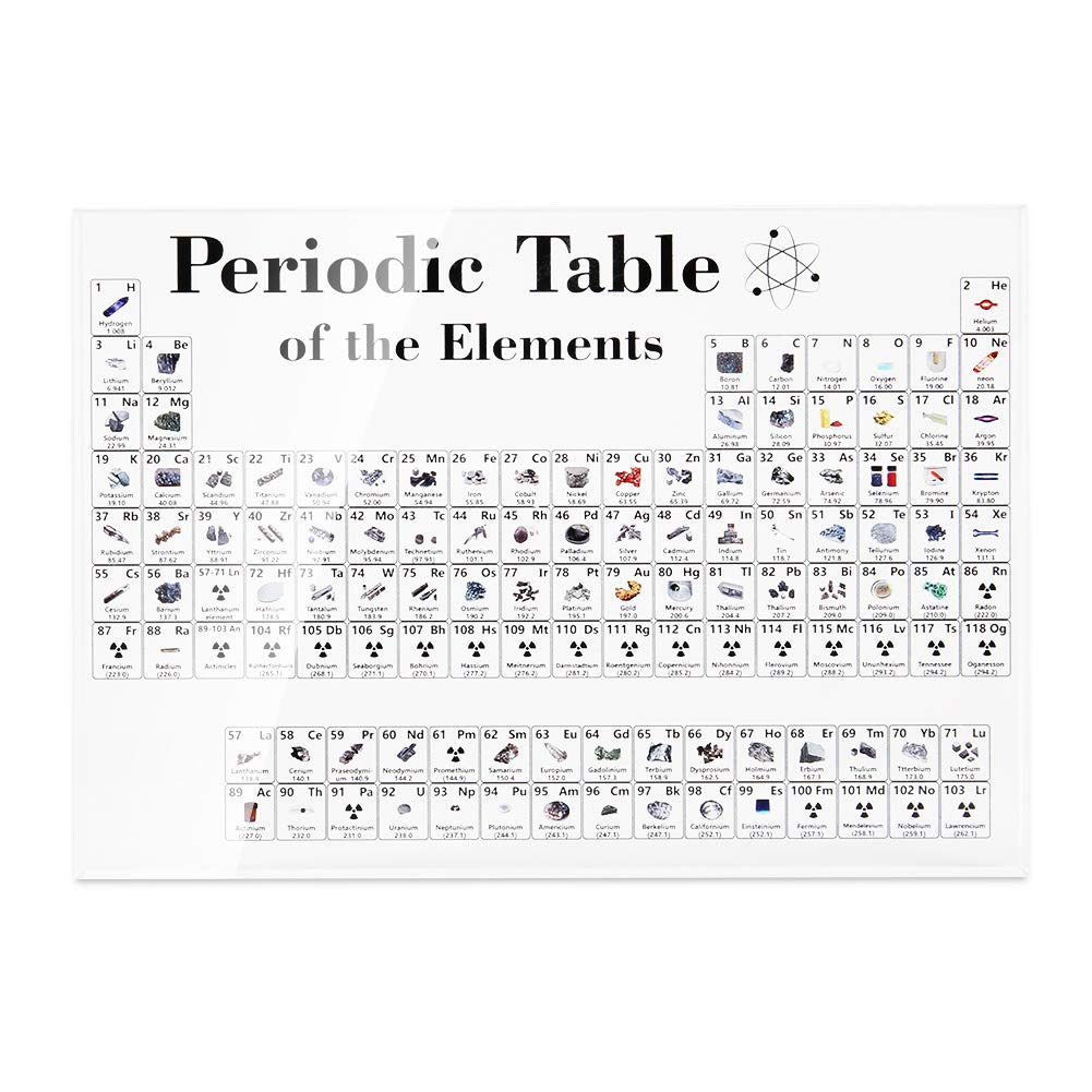 VienTen Periodic Table of Elements, Periodic Table Display with Elements Student Teacher Gifts Craft Decoration Science Chemistry Chart for Classroom Education (170 x 120 x 24mm, Transparent 1) by VienTen