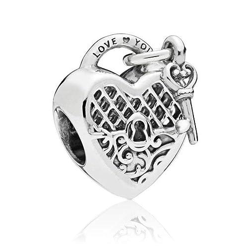 c3b00ba40 Amazon.com: Romántico Amor Love You Lock Sterling Silver Charm Key to My  Heart Bead for Pandora Bracelets/White (White): Jewelry
