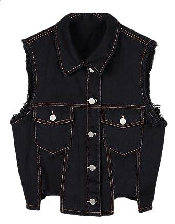 7cedeb4a304 GAGA Women's Slim Fit Retro Ripped Denim Vest Sleeveless Denim Jean Jacket  at Amazon Women's Coats Shop