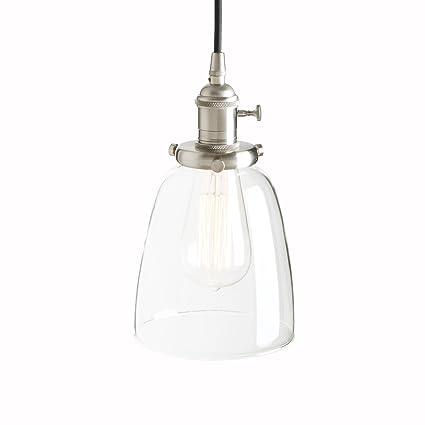 buy popular 0b485 8f737 Pathson Industrial Vintage Modern Edison Hanging Pendant Ceiling Light  Fixture Loft Bar Kitchen Chandelier Decorative Lighting with Bell Clear  Glass ...