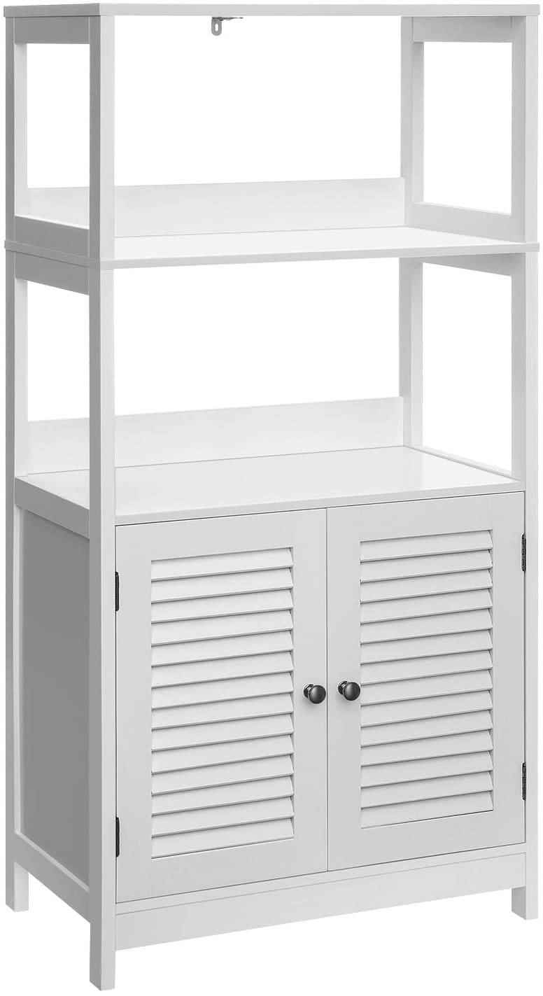 VASAGLE Bathroom Tall Cabinet, Freestanding Linen Tower, Tall Bathroom Storage Cabinet, 2 Open Shelves and Doors, 23.6 x 12.8 x 48 Inches, for Living Room Kitchen Study Entryway, Matte White UBBC81WT