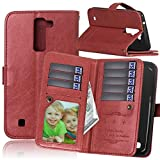 LG K7 case,K7 Case,Gift_Source [Multi Card Wallet] [Photo card slots] Premium Magnetic PU Leather Wallet with Built-in 9 Card Slots Folio Flip Case For LG K7 [Brown]