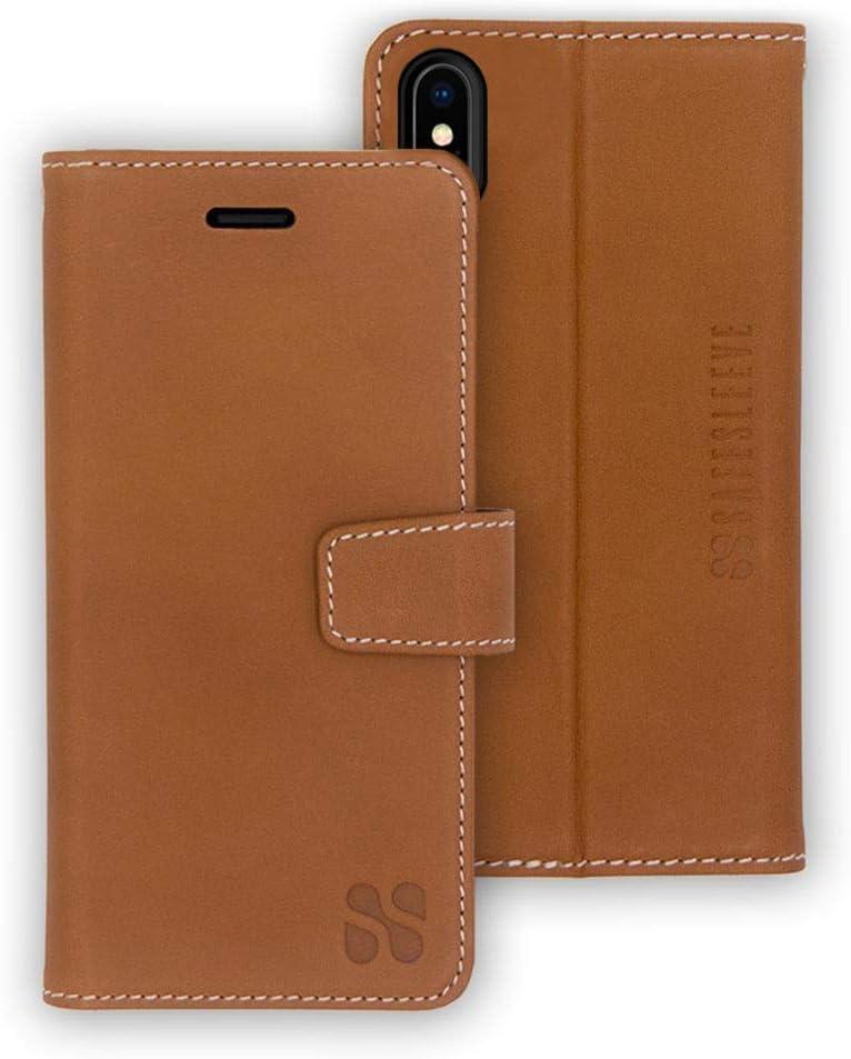 SafeSleeve EMF Protection Anti Radiation iPhone Case: iPhone Xs Max RFID EMF Blocking Wallet Cell Phone Case (Leather)