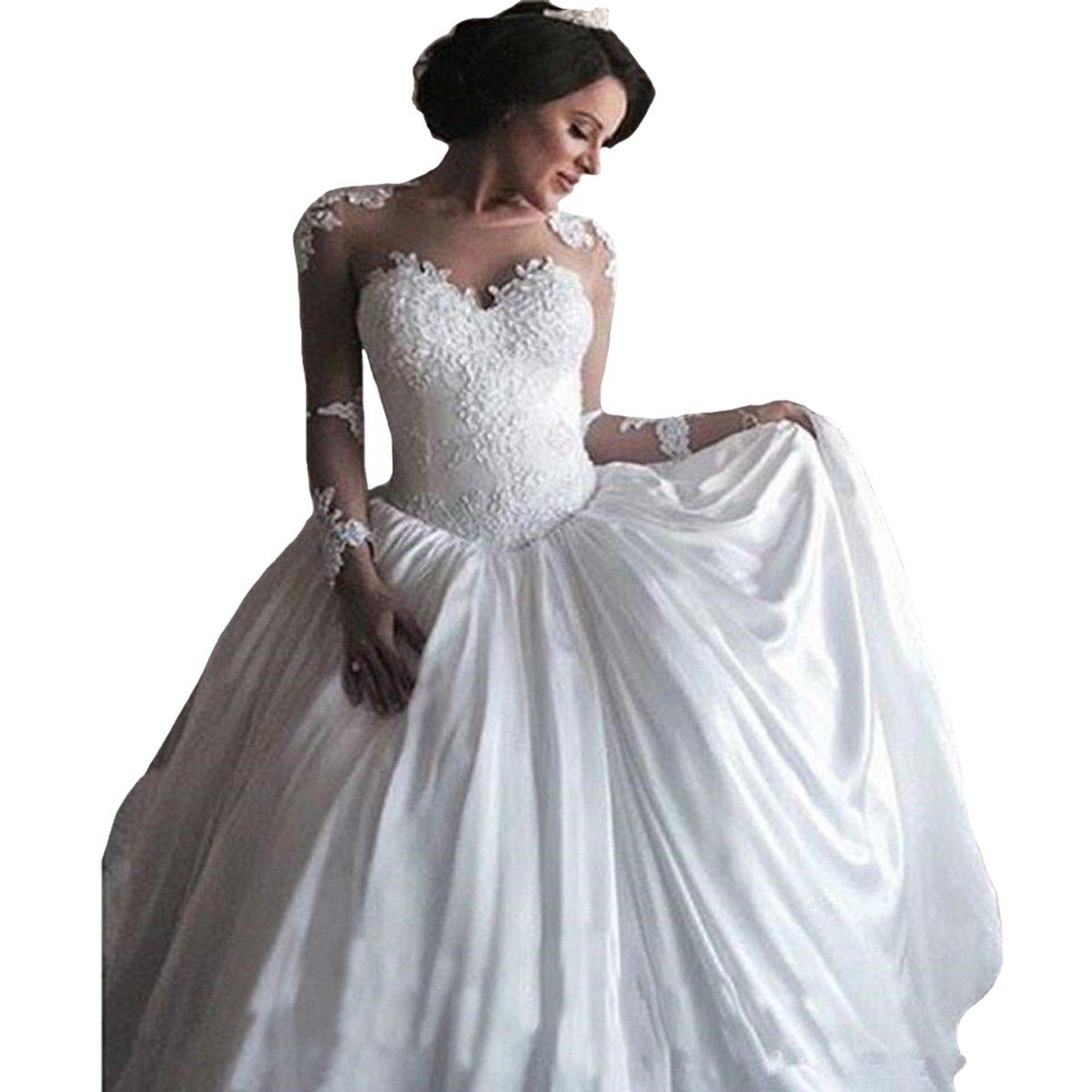 Fair Lady Princess Ball Gown Wedding Dress Backless Long Sleeves