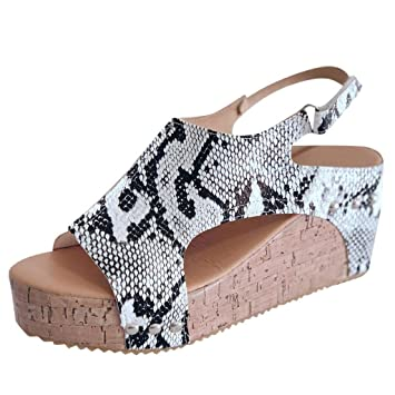 53a36d2dc256 Jiayit Women Snake Leopard Print Slope with Open Toe Breathable Large Size  Sandals Rome Elastic Band